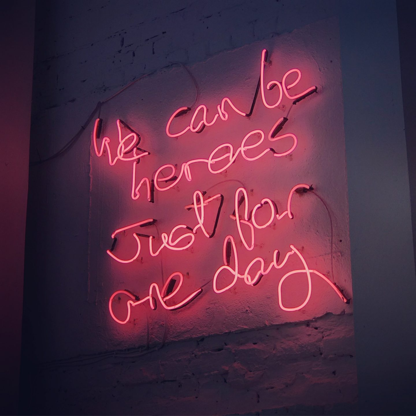 Bowie lyrics neon sign