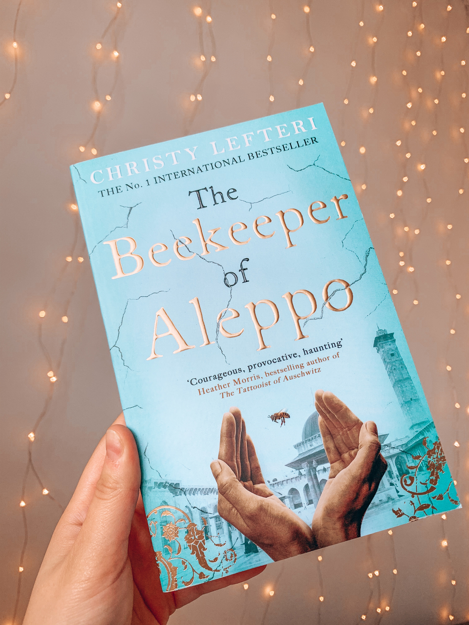 20 books to read in 2020 The Beekeeper of Aleppo by Christy Lefteri blue front cover featuring a bee and hands